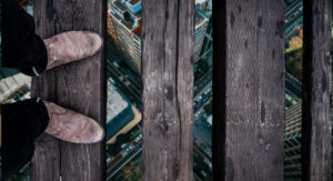 balancing on bridge