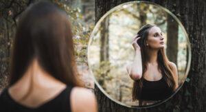 gazing in mirror